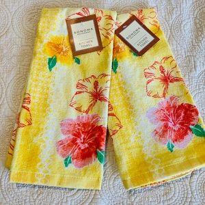 NWT Set of 2 SONOMA Hibiscus Dish Towels